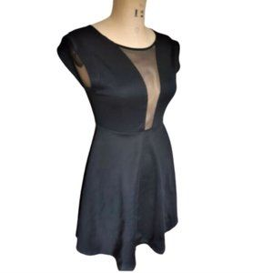 Guess Los Angeles Black Fit n Flare Dress Sheer